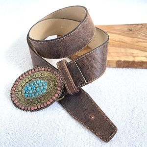 Elite | Stone Buckle Embellished Leather Belt